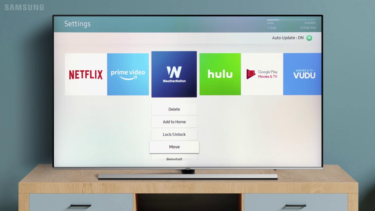 Move and Rearrange Apps on your TV