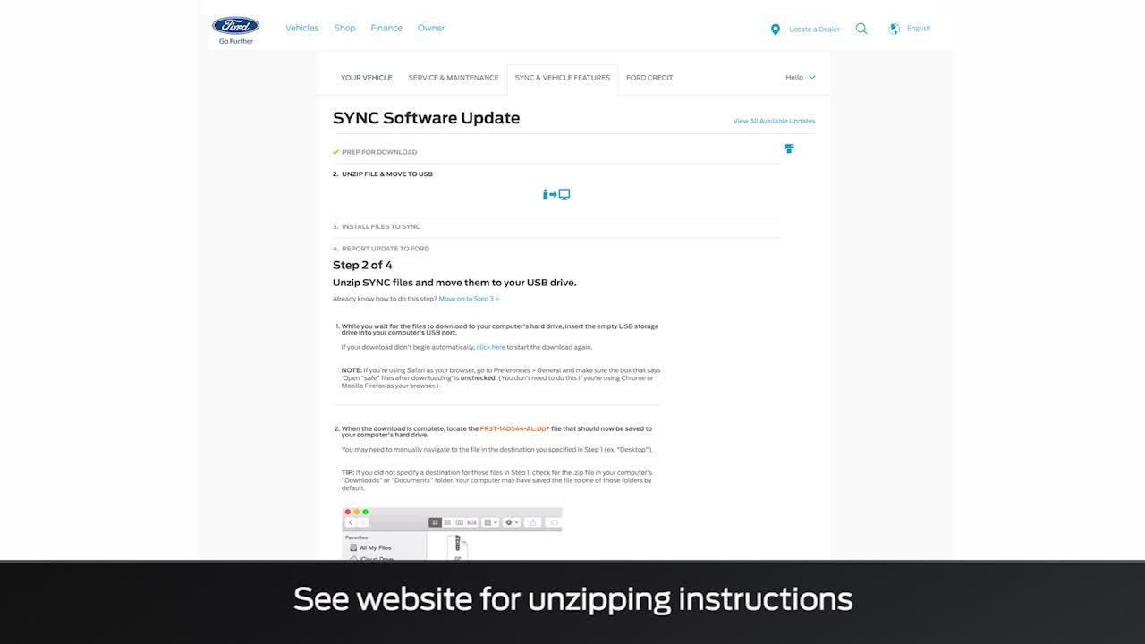 How to install SYNC® 3 system updates with a USB