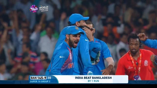 India win a last ball thriller against Bangladesh