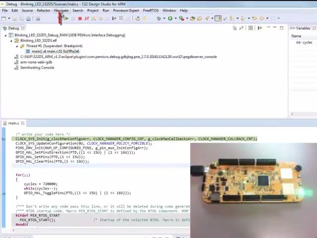 Create a LED blinking project in S32 Design Studio IDE for Arm® and