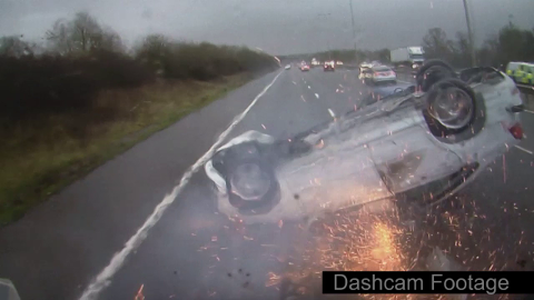 Heart-stopping crash captured on lorry camera