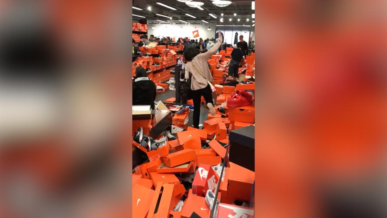 32edbf5ab Black Friday shoppers leave shoe store looking like a war zone ...