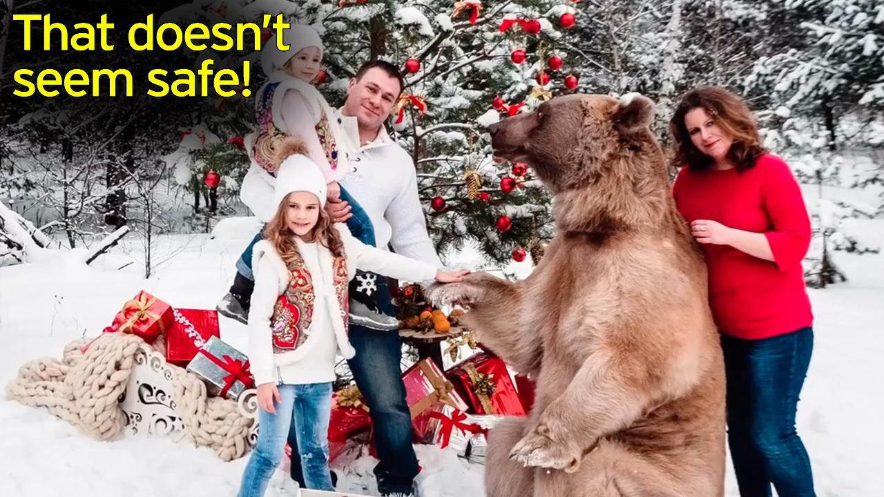 Children pose with GRIZZLY BEAR after family hires huge man-eating ...