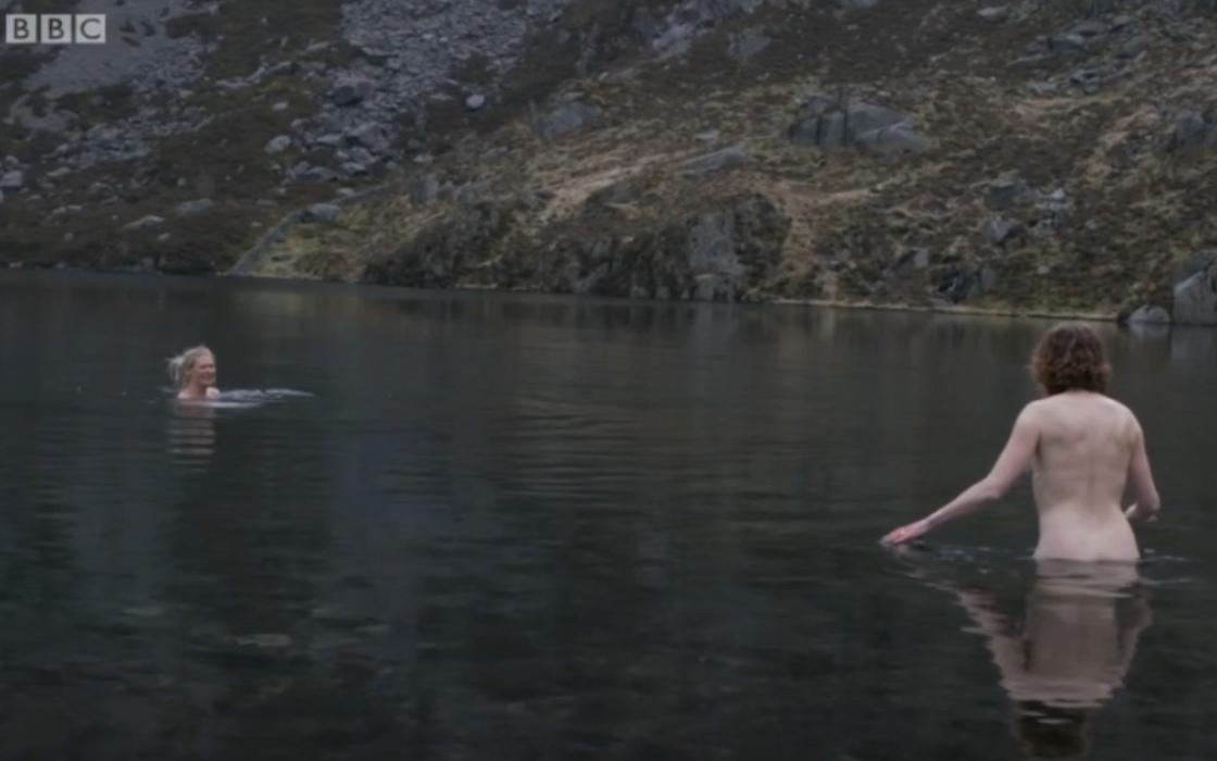 Naked girls swimming at night