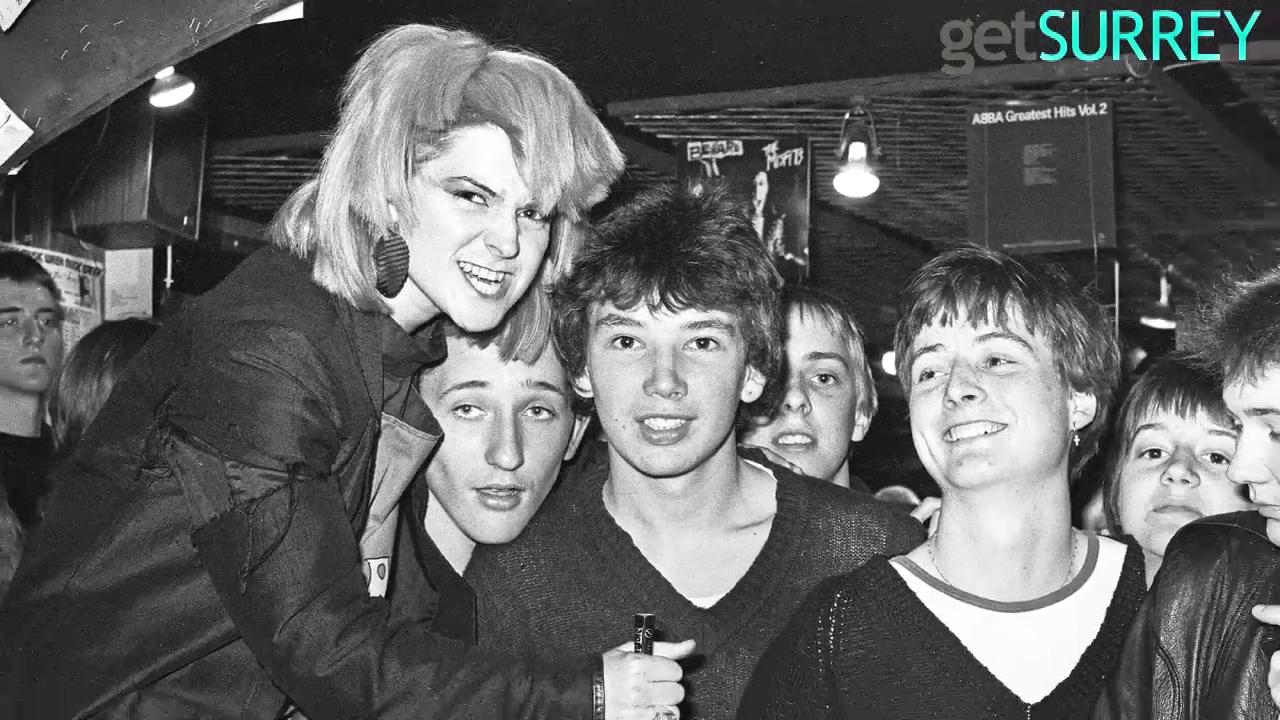 Toyah Willcox and her band stop by Guildford's Bonaparte Records shop