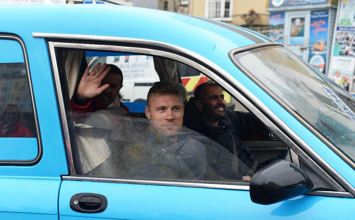 New series of Top Gear with Freddie Flintoff and Paddy McGuinness filming in Pendine