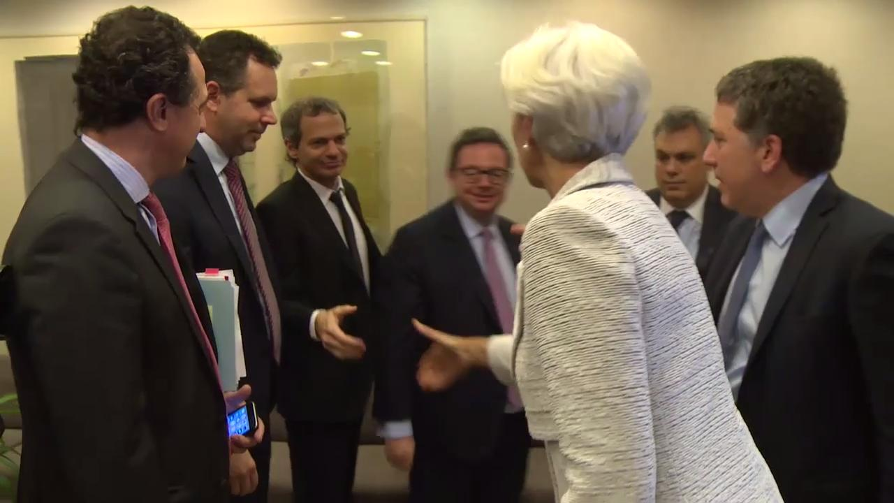 IMF Managing Director Christine Lagarde and Argentina's Treasury Minister Nicolas Dujovne Meet to Discuss IMF Financial Support