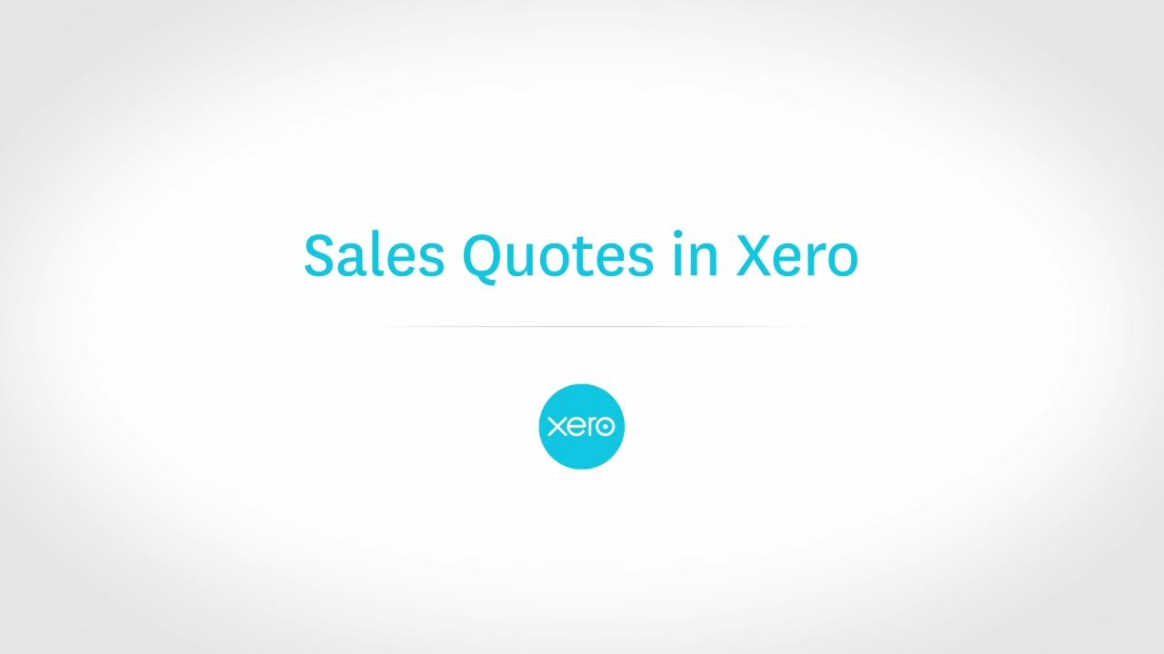 Sales Quotes in Xero Xero TV