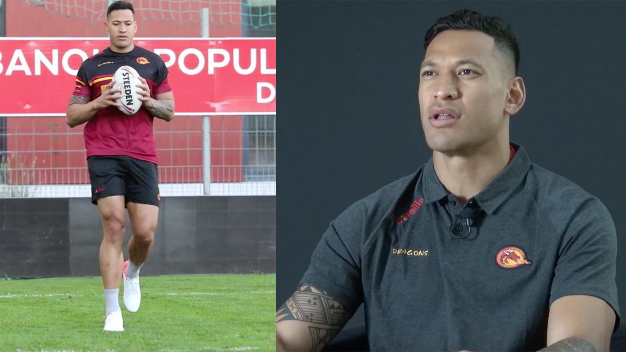 Israel Folau's first interview for Catalans Dragons.