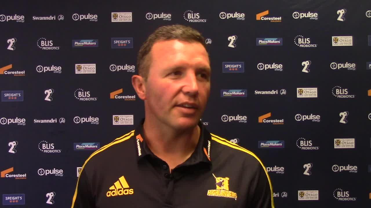 Highlanders coach Aaron Mauger interview - Brumbies Round Three