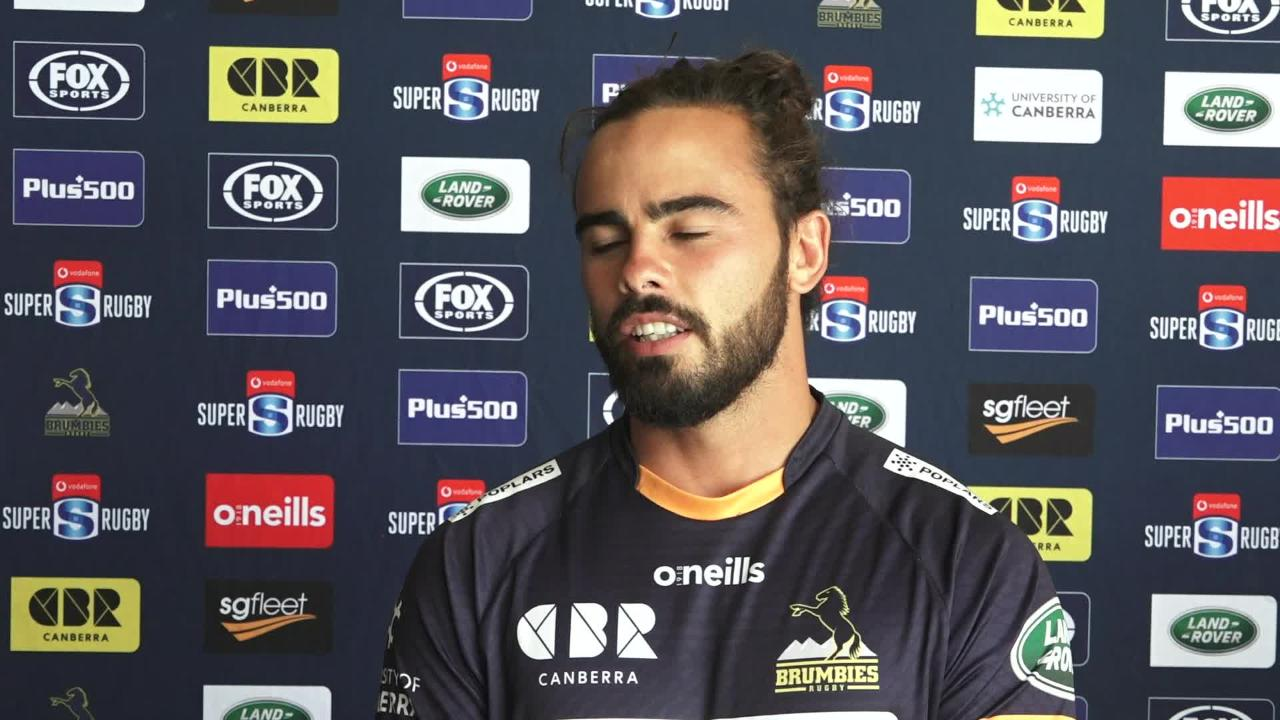 Brumbies backs Andy Muirhead and Toni Pulu media briefing - Brumbies v Chiefs Round Four