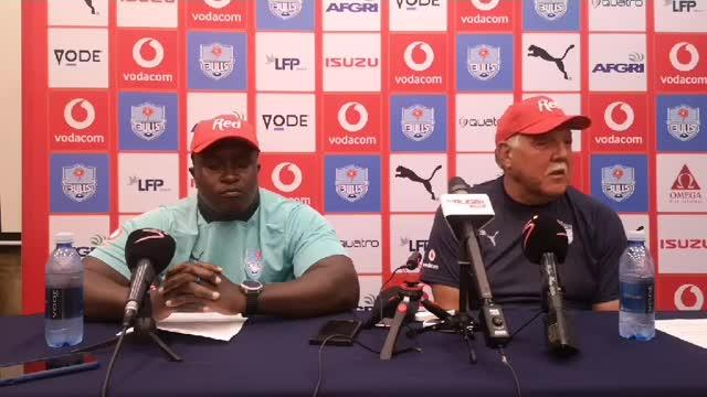 Bulls coach Pote Human and prop Trevor Nyakane ahead of Jaguares Round Five