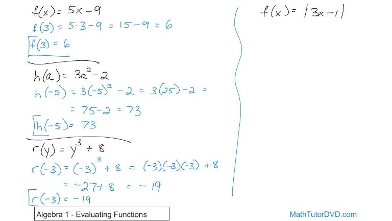Algebra 1 Course Unit 8 Lesson 9 Evaluating Functions