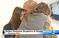 Daughters Surprised during Pledge of Allegiance